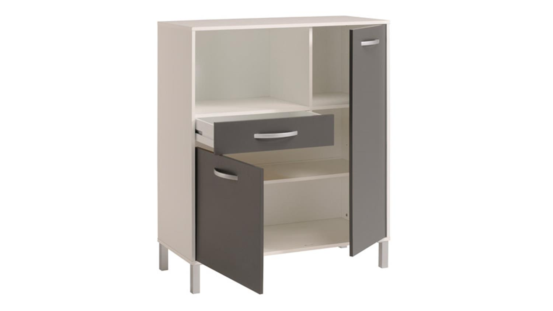 k chenschrank optibox in wei und grau 100 cm. Black Bedroom Furniture Sets. Home Design Ideas