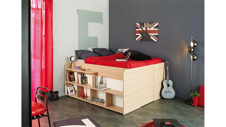 hochbett space up in baltimore eiche mit hydraulik 140x200 mit produktvideo. Black Bedroom Furniture Sets. Home Design Ideas