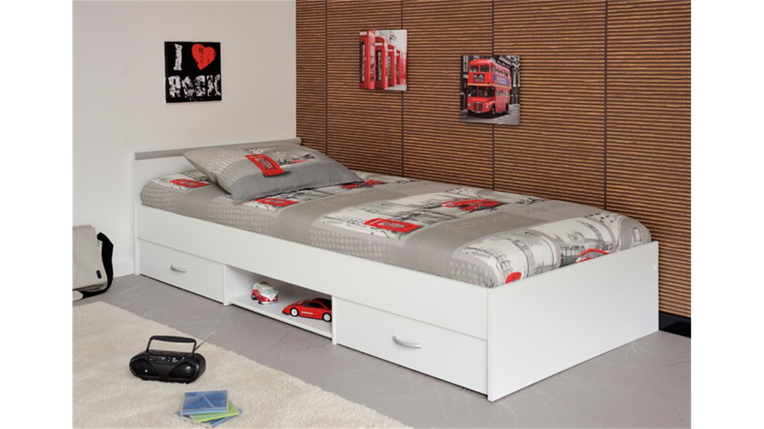 bett mega 90x200 cm jugendbett einzelliege in wei mit schubk sten. Black Bedroom Furniture Sets. Home Design Ideas