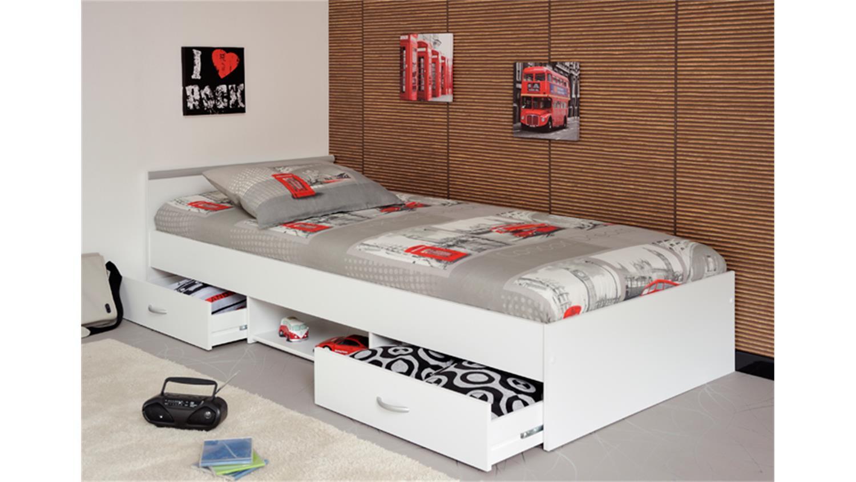 bett mega 90x200 cm jugendbett einzelliege in wei mit. Black Bedroom Furniture Sets. Home Design Ideas