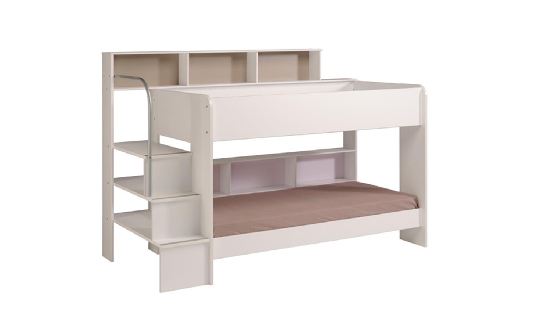 Etagenbett Mit Regal Treppe : Etagenbett bibop in weiß dekor mit regalen und stauraum