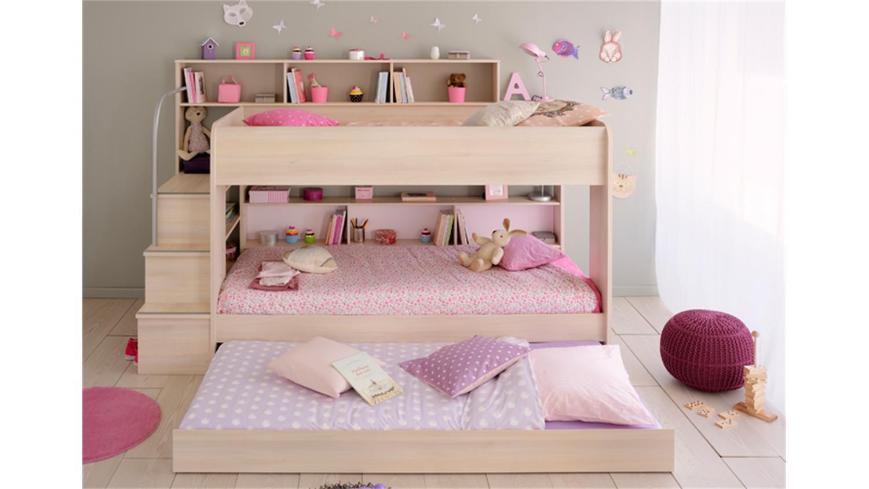 etagenbett bibop in akazie dekor mit regalen und stauraum. Black Bedroom Furniture Sets. Home Design Ideas