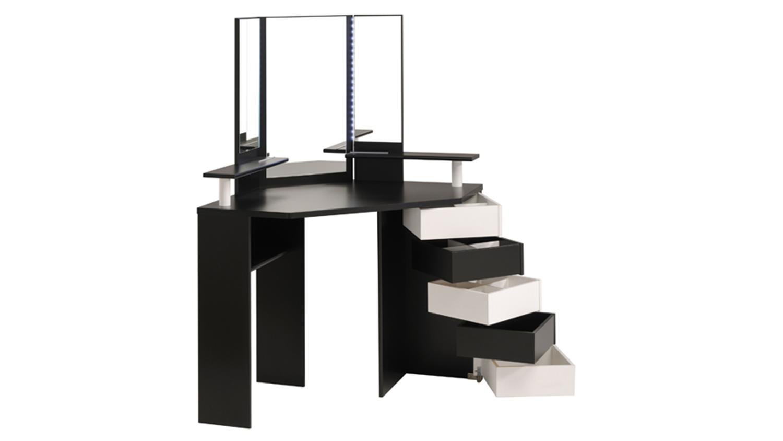 eck schminktisch volage in schwarz wei mit led beleuchtung. Black Bedroom Furniture Sets. Home Design Ideas