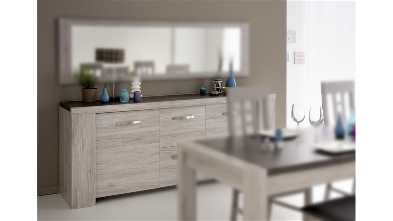 sideboard malone 23 kommode anrichte eiche steinoptik grau. Black Bedroom Furniture Sets. Home Design Ideas