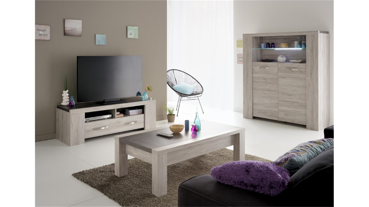 3tlg wohnzimmer set malone 41 in eiche steinoptik grau. Black Bedroom Furniture Sets. Home Design Ideas