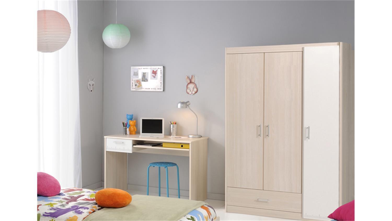 jugendzimmer charly 10 5 teilig akazie wei schrank 3trg. Black Bedroom Furniture Sets. Home Design Ideas