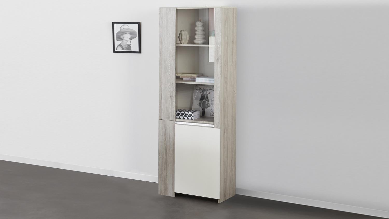 vitrine luneo highboard in portofino grau wei hochglanz. Black Bedroom Furniture Sets. Home Design Ideas