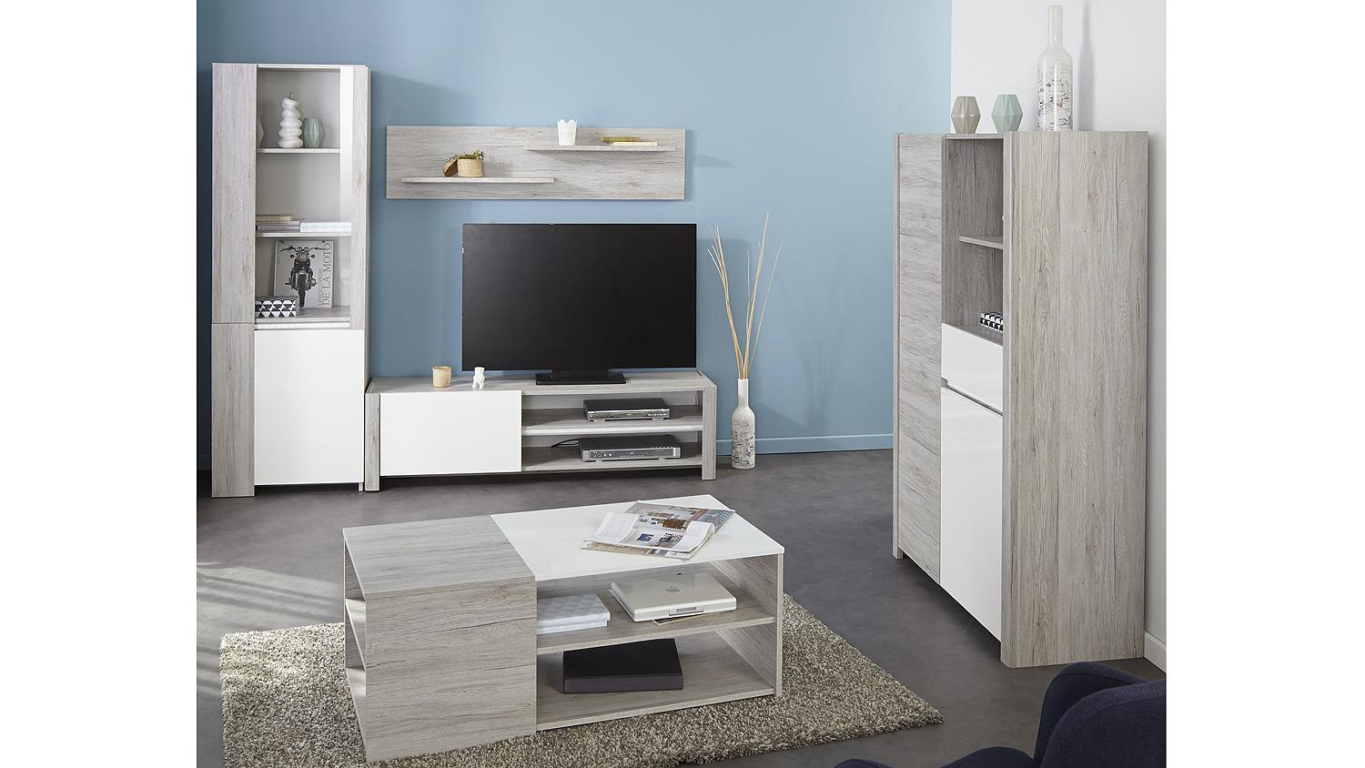 tv board luneo lowboard in portofino grau wei hochglanz. Black Bedroom Furniture Sets. Home Design Ideas