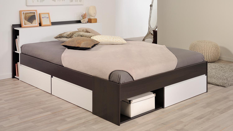 bett most jugendbett einzelliege mit schubk sten kaffee braun wei 160. Black Bedroom Furniture Sets. Home Design Ideas