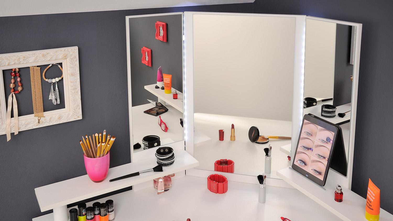 eck schminktisch volage in frisierkommode wei mit led. Black Bedroom Furniture Sets. Home Design Ideas