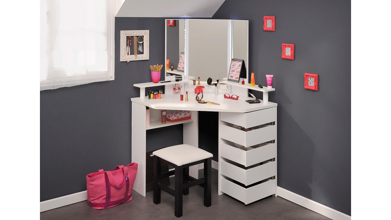 eck schminktisch und hocker volage in schwarz wei mit led. Black Bedroom Furniture Sets. Home Design Ideas