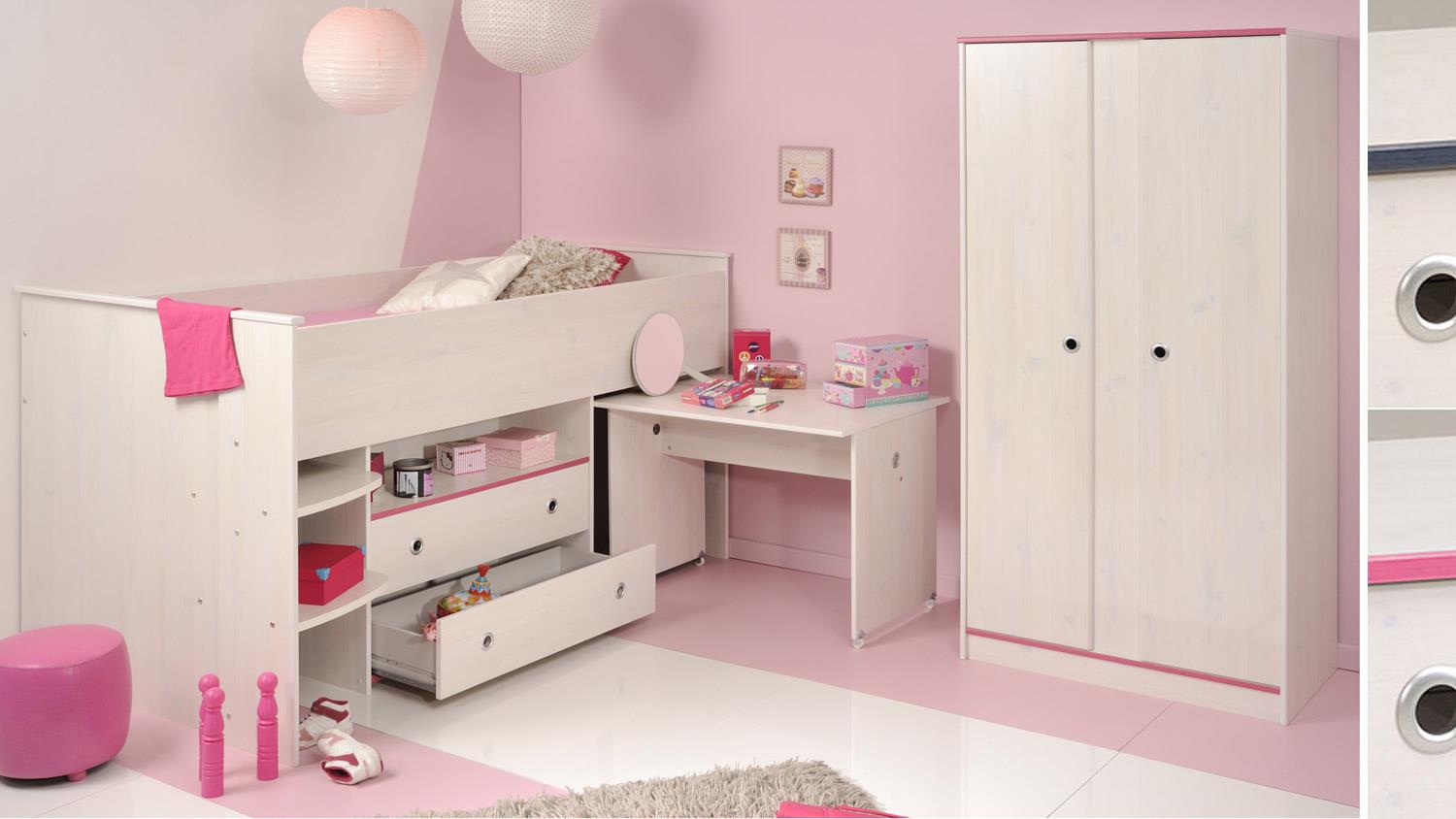 kinderzimmer set smoozy 25 hochbett in kiefer wei kanten blau pink. Black Bedroom Furniture Sets. Home Design Ideas
