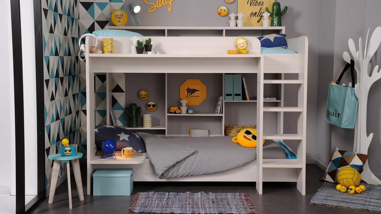 etagenbett higher hochbett kinderbett kinderzimmer in nordische esche. Black Bedroom Furniture Sets. Home Design Ideas