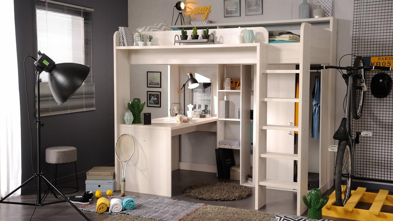 hochbett higher etagenbett schreibtisch und schrank in nordische esche. Black Bedroom Furniture Sets. Home Design Ideas
