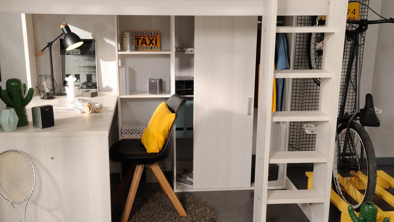 Hochbett Etagenbett Mit Schreibtisch : Hochbett higher etagenbett schreibtisch und schrank in nordische esche