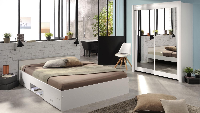 bett mega stauraumbett in wei mit schubkasten 140x200. Black Bedroom Furniture Sets. Home Design Ideas