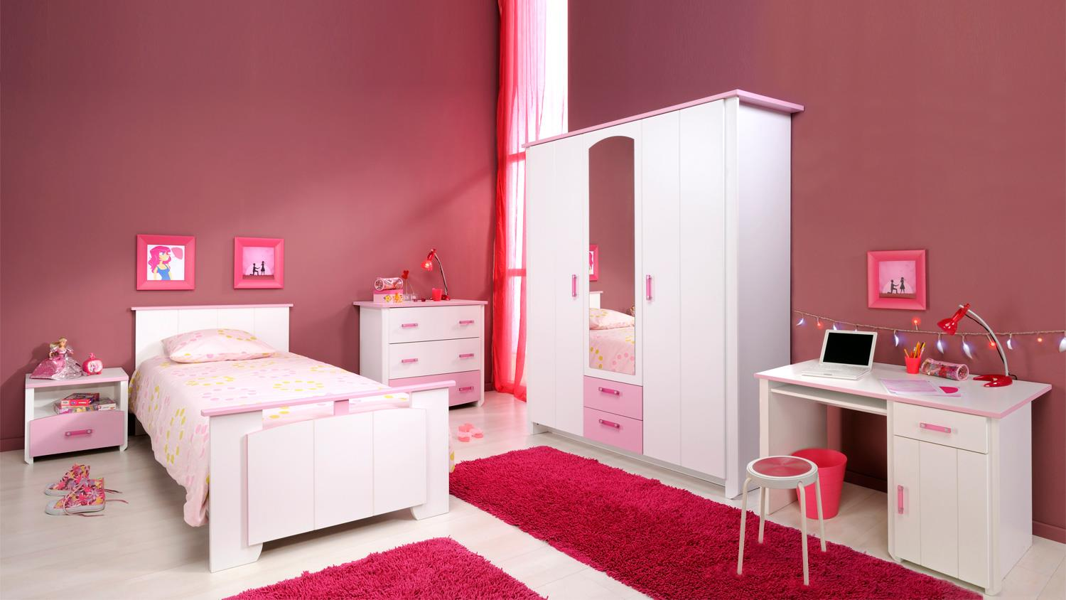 kinderzimmer set beauty 13 wei rosa 5 teilig mit spiegel. Black Bedroom Furniture Sets. Home Design Ideas