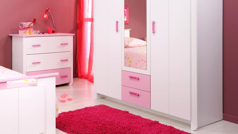 kinderzimmer set beauty 13 wei rosa 5 teilig mit spiegel. Black Bedroom Furniture Sets. Home Design Ideas