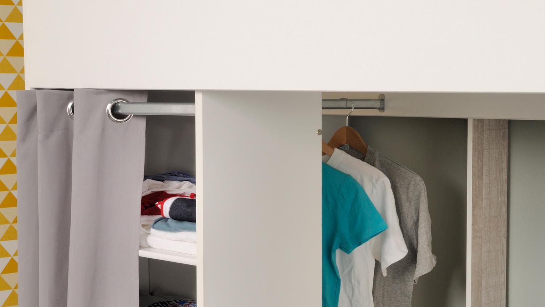 hochbett taylor 11 wei grau mit leiter schreibtisch regal 90x200 cm. Black Bedroom Furniture Sets. Home Design Ideas