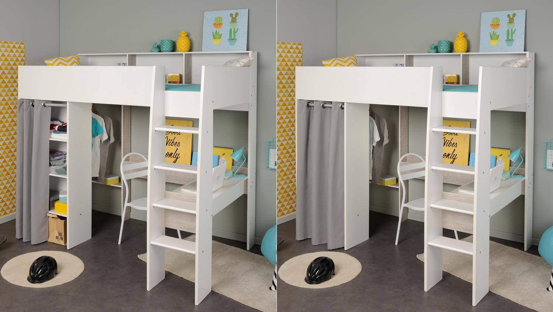 hochbett taylor 14 wei grau leiter regal vorhang schreibtisch parisot. Black Bedroom Furniture Sets. Home Design Ideas