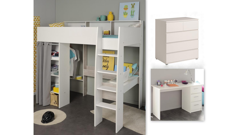 hochbett taylor 16 wei grau leiter regal inkl kommode schreibtisch. Black Bedroom Furniture Sets. Home Design Ideas