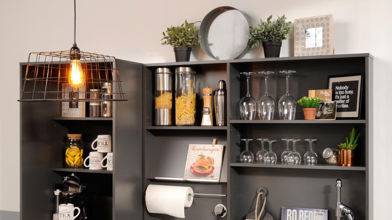 Küche MOOVE 3 Küchentheke Bar Bartisch grau und Eiche hell 3-teilig
