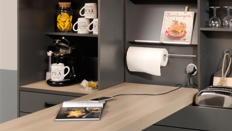 k che moove 3 k chentheke bar bartisch grau und eiche hell. Black Bedroom Furniture Sets. Home Design Ideas