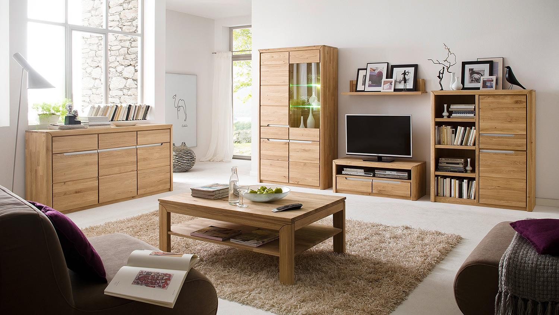 wohnwand 1 florenz in wildeiche bianco massiv softclose. Black Bedroom Furniture Sets. Home Design Ideas