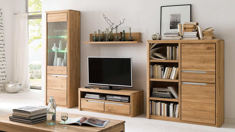 wohnwand 3 florenz in wildeiche bianco massiv softclose. Black Bedroom Furniture Sets. Home Design Ideas
