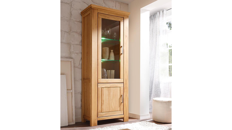 vitrine 5 riena in wildeiche teilmassiv inkl softclose. Black Bedroom Furniture Sets. Home Design Ideas