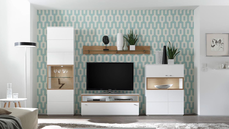 Wohnwand MILANO Anbauwand Wohnzimmer weiß Lack und Wildeiche Bianco