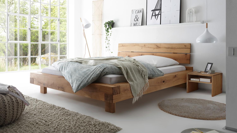 Bett SVENJA Schlafzimmerbett Bettgestell in Wildeiche massiv 160x200