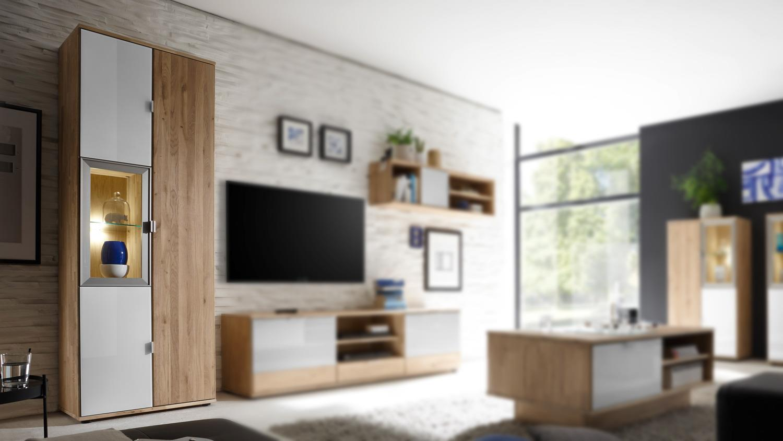 Vitrine COMO Schrank Wohnzimmer Wildeiche Massiv und weiß Glas Lack