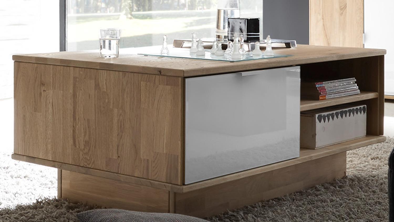 couchtisch como beistelltisch wildeiche massiv ge lt glas wei lack. Black Bedroom Furniture Sets. Home Design Ideas