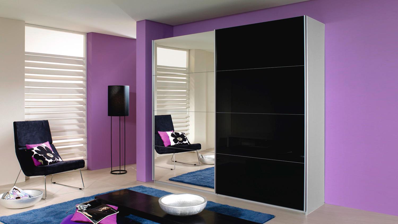 schwebet renschrank quadra schwarzglas spiegel 271. Black Bedroom Furniture Sets. Home Design Ideas