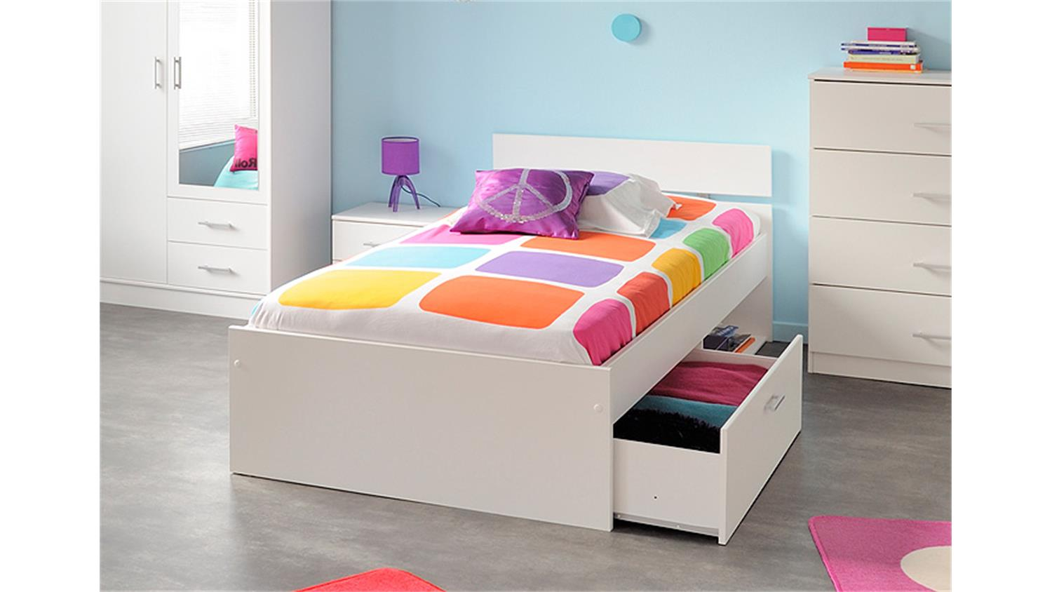 bett infinity kinderbett stauraumbett in wei dekor 90x200. Black Bedroom Furniture Sets. Home Design Ideas