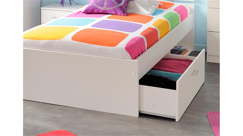 bett infinity kinderbett stauraumbett in wei dekor 90x200. Black Bedroom Furniture Sets. Home Design Ideas