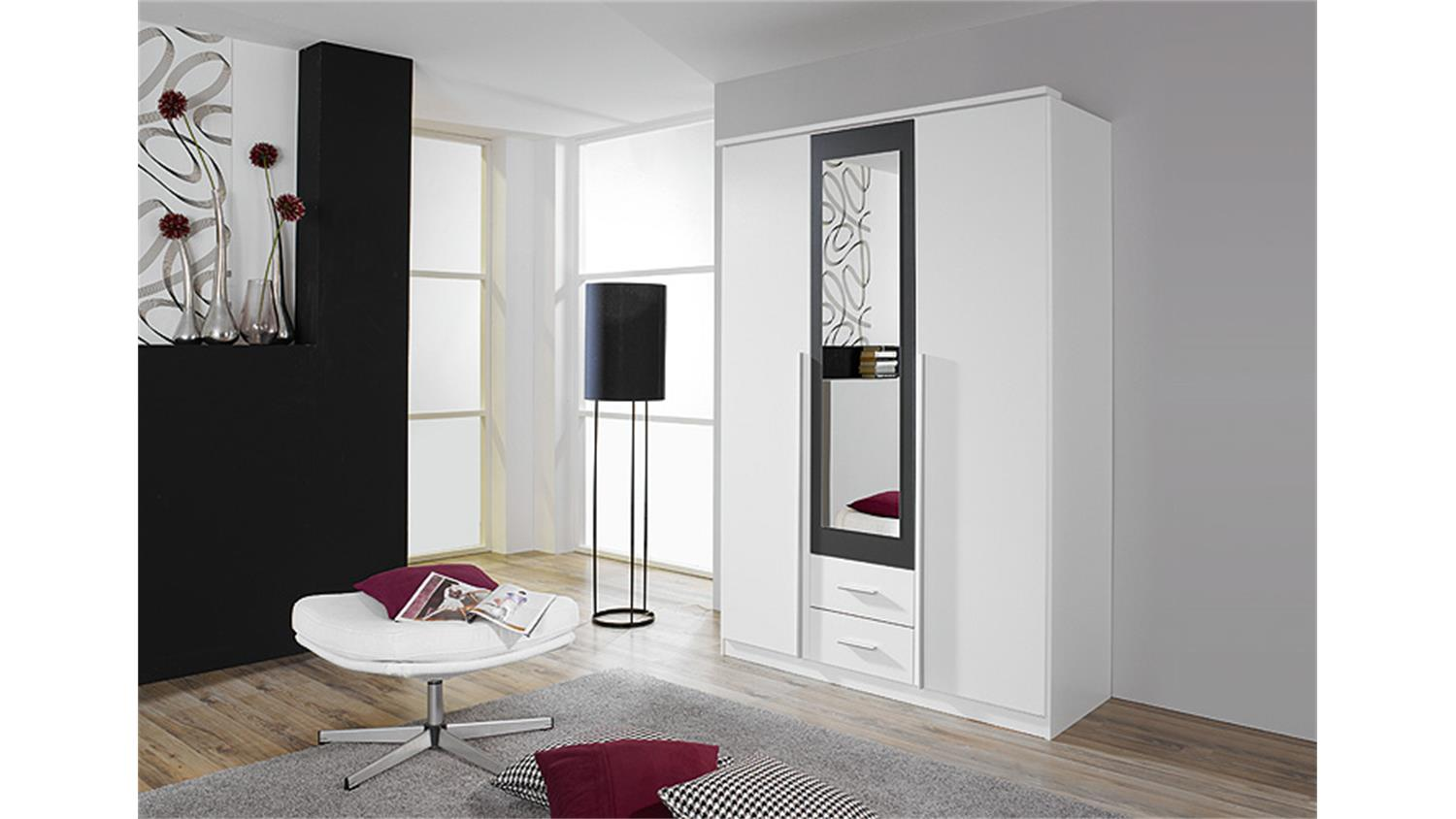 kleiderschrank wei schwarz mit spiegel. Black Bedroom Furniture Sets. Home Design Ideas