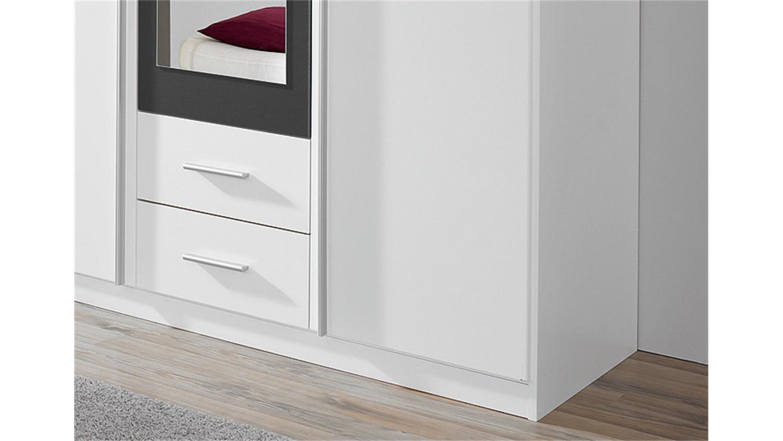 KREFELD Weiß und Grau mit Spiegel 136 cm | {Kleiderschrank weiß schwarz mit spiegel 65}