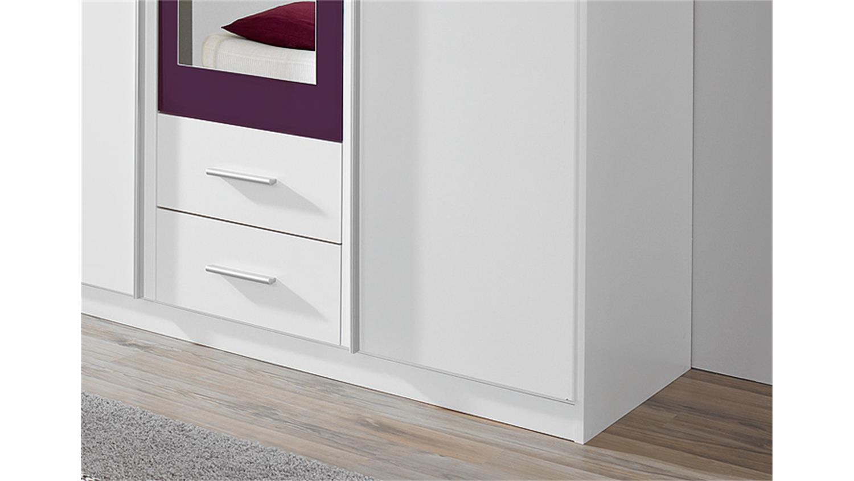 Kleiderschrank weiß mit spiegel  KREFELD Weiß und Lila mit Spiegel 136 cm
