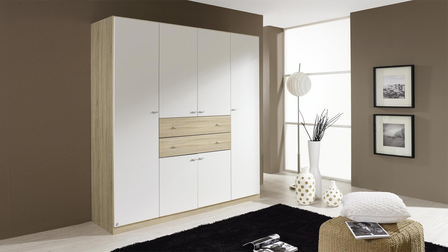 kleiderschrank landsberg schrank in wei und eiche sonoma 181 cm. Black Bedroom Furniture Sets. Home Design Ideas