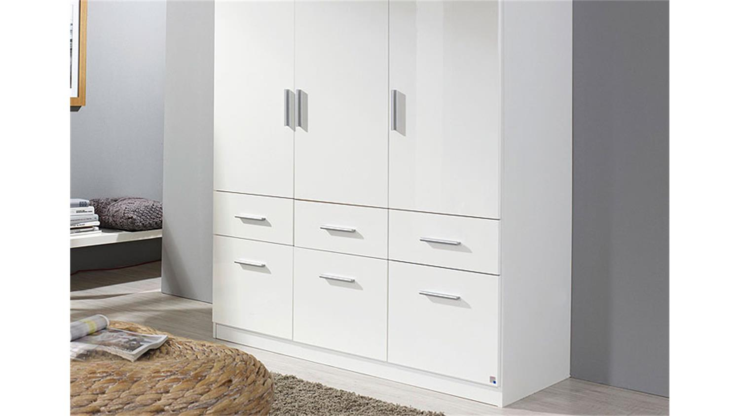 kleiderschrank celle wei hochglanz 136 cm. Black Bedroom Furniture Sets. Home Design Ideas