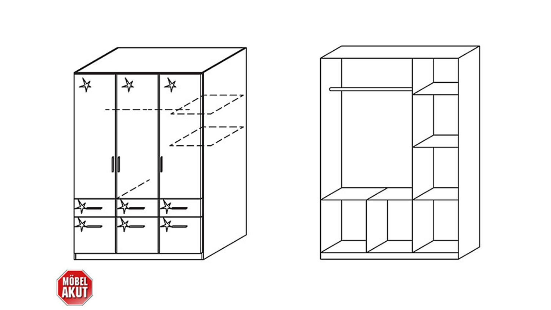 Kleiderschrank celle wei hochglanz 136 cm for Schrank celle
