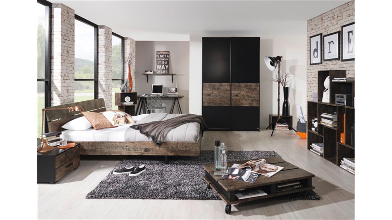 bett sumatra schwarz und vintage braun mit polster 140. Black Bedroom Furniture Sets. Home Design Ideas