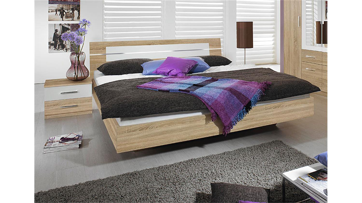 bettanlage burano bett in sonoma eiche und wei 180x200. Black Bedroom Furniture Sets. Home Design Ideas