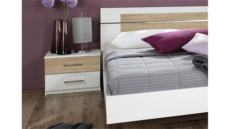 Bettanlage Burano Bett In Weiß Und Grau Mit Nachtkommoden