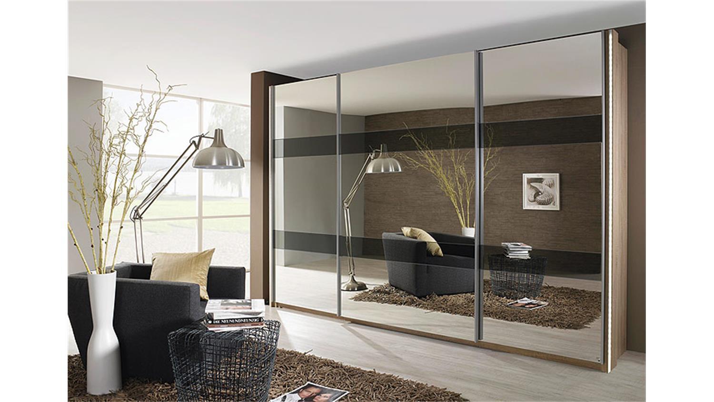 Schwebetürenschrank spiegelfront  KIANO Sonoma Eiche Spiegel 270 cm