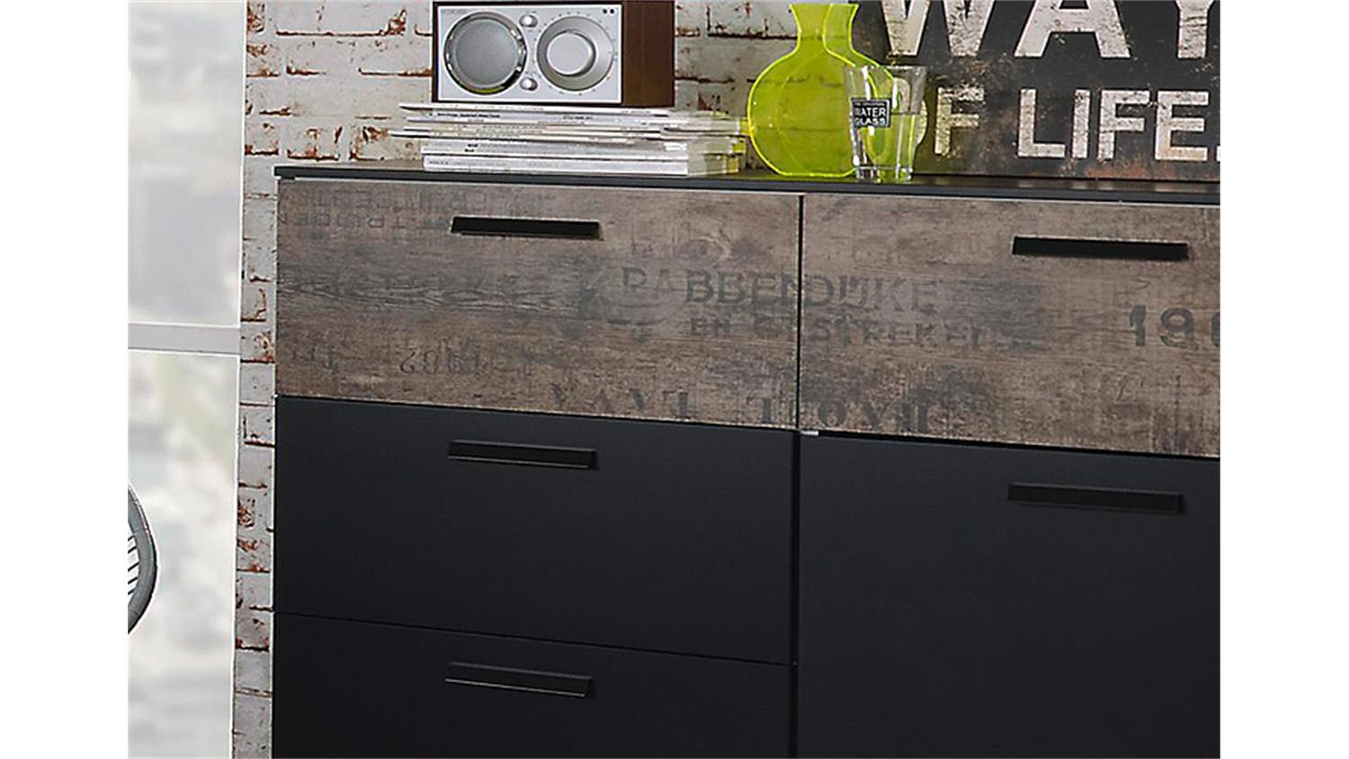 kommode sumatra sideboard vintage in schwarz und braun. Black Bedroom Furniture Sets. Home Design Ideas