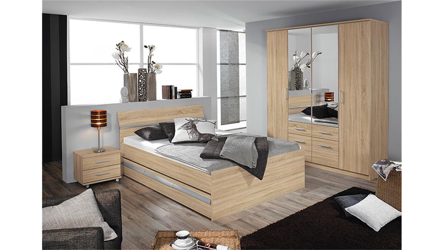bett apulien schlafzimmerbett sonoma eiche s gerau 140 cm. Black Bedroom Furniture Sets. Home Design Ideas