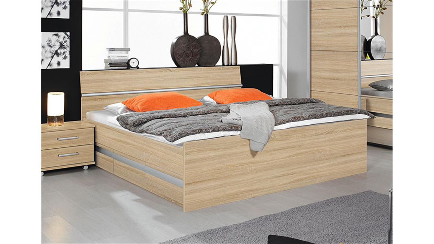 bett sonoma eiche bett arona sonoma eiche lava hochglanz bettkasten 180x200 bett einzelbett. Black Bedroom Furniture Sets. Home Design Ideas